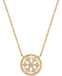 Macy's Diamond Snowflake Necklace 1 6 Ct. T.W. In 14K Gold