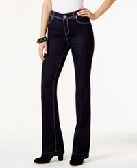 Inc International Concepts Curvy Fit Dark Blue Wash Flared Jeans Only At Macy's White Stitch