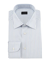 Ermenegildo Zegna Wide Striped Woven Dress Shirt Open White Pattern