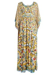 Dolce And Gabbana Majolica Print Silk Kaftan Yellow Multi