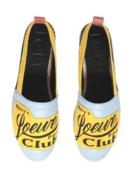 Loewe Logo Patch Suede And Leather Espadrilles Sky Blue Yellow