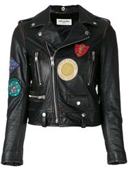Saint Laurent Patch Embroidered Leather Jacket Cotton Leather Polyester Cupro Black