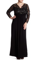 Marina Sheer Beaded Lace Sleeve Gown Plus Size Black