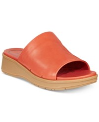 Bare Traps Rebecca Slip On Wedge Sandals Women's Shoes Sienna Orange Leather