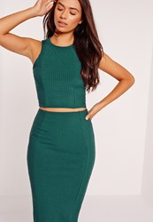 Missguided Ribbed Crop Top Green Green