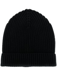 Dolce And Gabbana Ribbed Beanie Hat Black