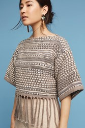 Anthropologie Woven Fringe Top Taupe