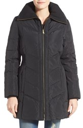 Cole Haan Signature Women's Cole Haan Down And Feather Fill Coat With Knit Collar Black