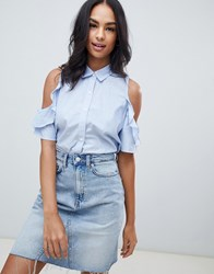 Abercrombie And Fitch Ruffle Cold Shoulder Shirt Blue