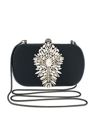 Badgley Mischka Aurora Jeweled Minaudiere Clutch Black