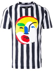 Fendi Striped Abstract Face Print T Shirt Blue