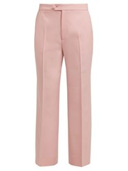 Gucci High Rise Wool Twill Trousers Light Pink