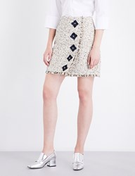 Mary Katrantzou Floral Embellished Woven Tweed Mini Skirt Gold