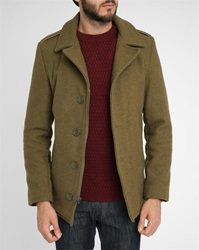 Schott Nyc Khaki Woollen Military Zip Buttons Pea Jacket