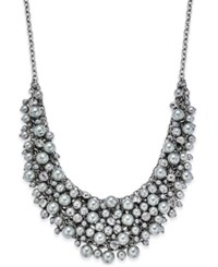Charter Club Silver Tone Cubic Zirconia And Gray Imitation Pearl Shaky Statement Necklace Only At Macy's