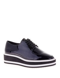 Sol Sana Samantha Patent Leather Platform Oxfords Black