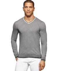 Calvin Klein V Neck Micro Cable Knit Sweater