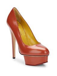 Charlotte Olympia Dolly Leather Platform Pumps Brown