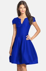Halston Women's Heritage Cotton And Silk Fit And Flare Dress Royal Blue