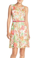 Women's Chetta B Print Lace Fit And Flare Dress