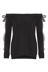 Valentino Off The Shoulder Silk Chiffon Trimmed Cashmere Sweater Black
