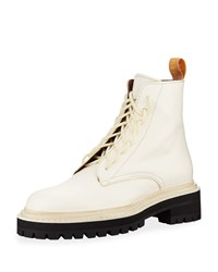 Proenza Schouler Leather Lace Up Combat Boots White