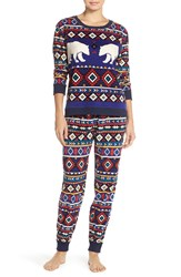Kensie 'Arctic Chill' Knit Pajamas Blue Ground Novelty