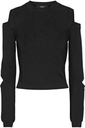 Versus By Versace Cropped Cutout Ribbed Knit Sweater Black
