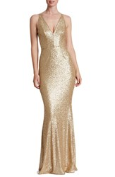 Dress The Population Women's 'Harper' Sequin Mermaid Gown Brushed Gold