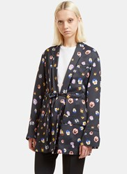 Christopher Kane Pansy Print Evening Jacket Black
