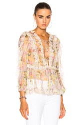 Zimmermann Valour Scallop Ruffle Top In Floral Pink Floral Pink