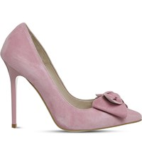 Office Hey Girl Bow Courts Pink Kid Suede