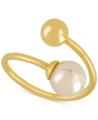 Majorica Gold Tone Imitation Pearl 8Mm Bypass Statement Ring