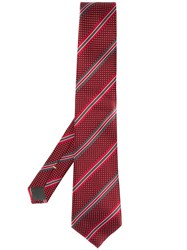 Canali Striped Print Tie Red