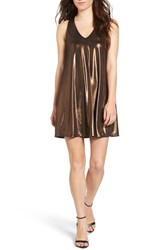 Everly Women's Metallic Racerback Shift Dress Rose Gold