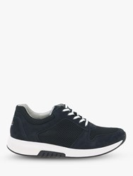 Gabor Mary Wide Fit Suede Lace Up Trainers Nightblue