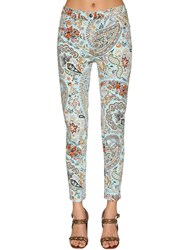 Etro Printed Cotton Denim Skinny Jeans Blue Multi