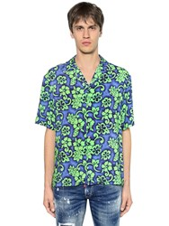 Dsquared Floral Printed Viscose Bowling Shirt Blue Green