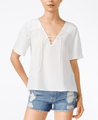 Sanctuary Kate Short Sleeve Lace Up Top White