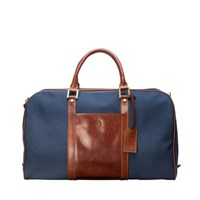 Maxwell Scott Bags Classic Navy Canvas And Tan Leather Weekend Travel Bag