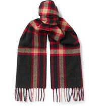 Alexander Mcqueen Fringed Checked Wool Scarf Black