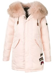 Mr And Mrs Italy Fur Trim Hooded Parka Coat Pink