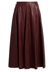 Maison Martin Margiela Mid Rise Faux Leather Full Skirt Burgundy
