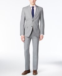 Tommy Hilfiger Men's Slim Fit Light Gray Sharkskin Suit Light Grey