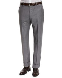 Zanella Parker Flat Front Super 130'S Flannel Trousers Grey