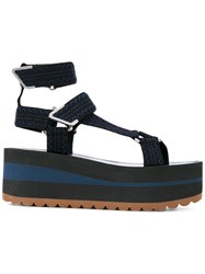 Versace Strappy Platform Sandals Women Leather Polyester Foam Rubber 40 Blue