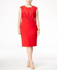 Inc International Concepts Plus Size Mesh Inset Sheath Dress Only At Macy's Real Red