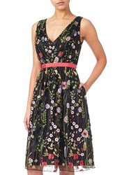Adrianna Papell Embroidered Tulle Fit And Flare Prom Dress Black Multi