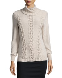 Lafayette 148 New York Long Sleeve Cable Knit Cashmere Sweater Khaki Melange