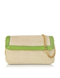 Buti Straw And Leather Clutch W Shoulder Strap Green